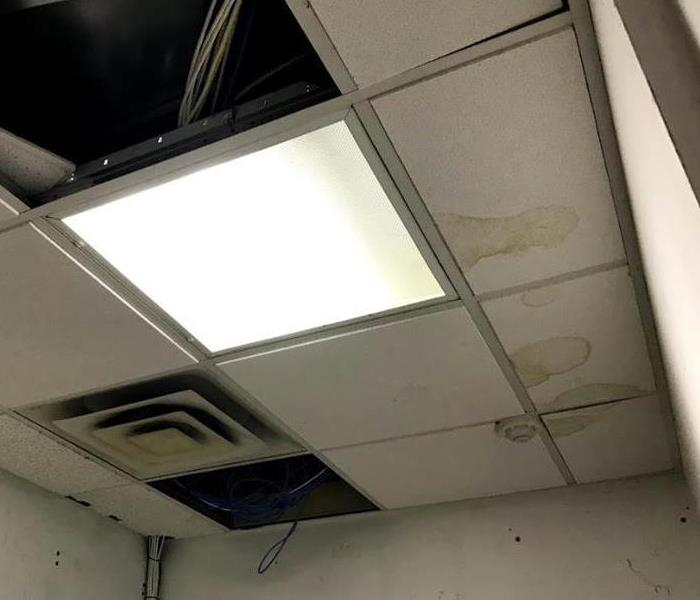 drop ceiling tiles with water staining